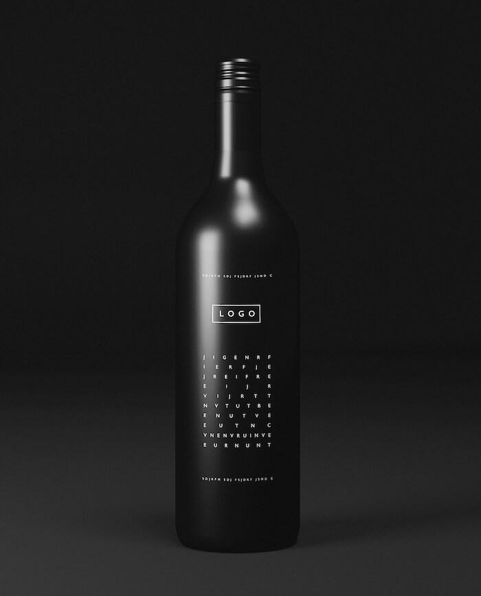 Black Wine Bottle Mockup