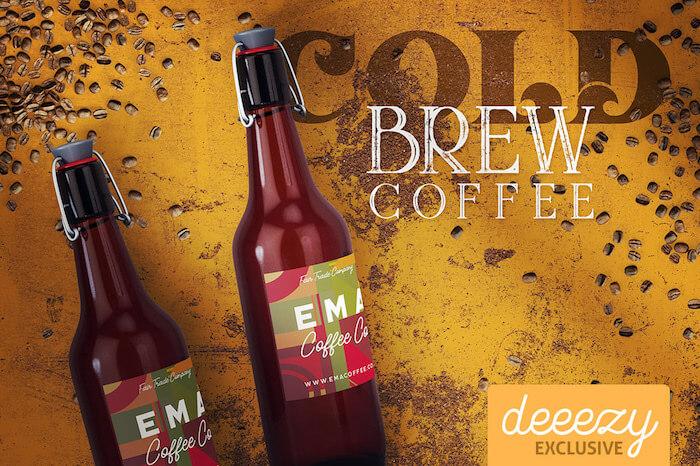 Bottle & Coffee Mockup