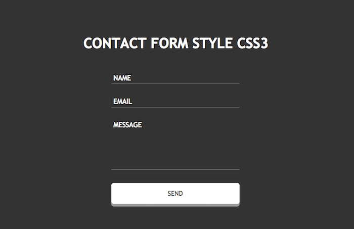 Contact Form Style CSS3