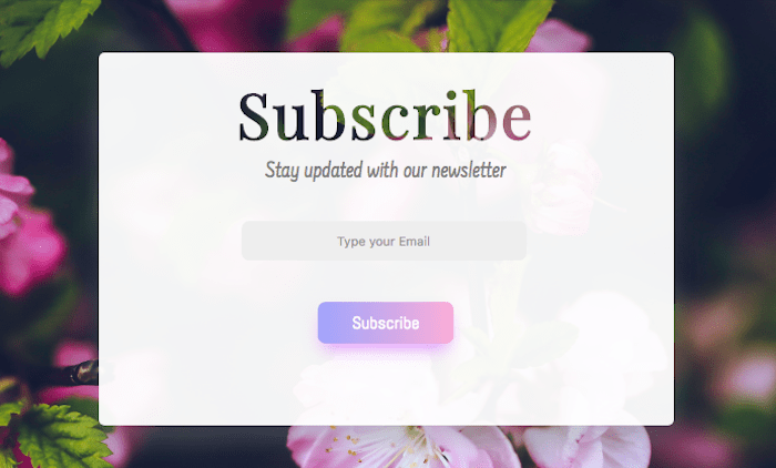 Simple Subscribe form css html