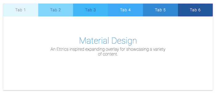 aterial Expanding Overlay - Top-Aligned Tabs