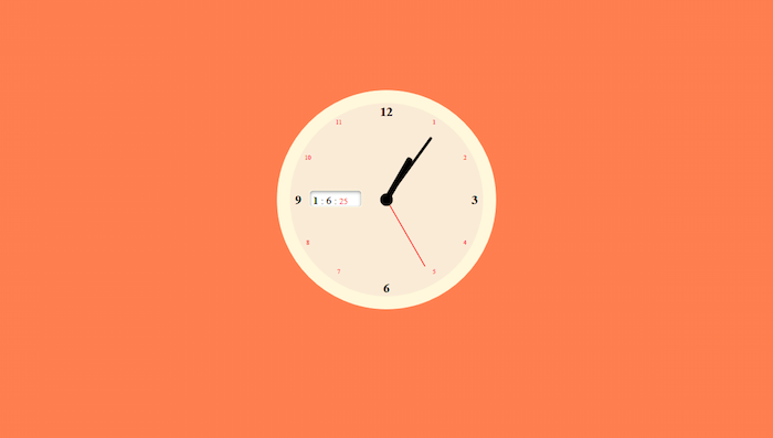 JS and CSS clock with sound.