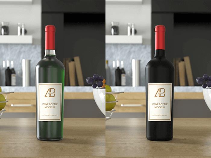 Wine Bottle PSD Mockup