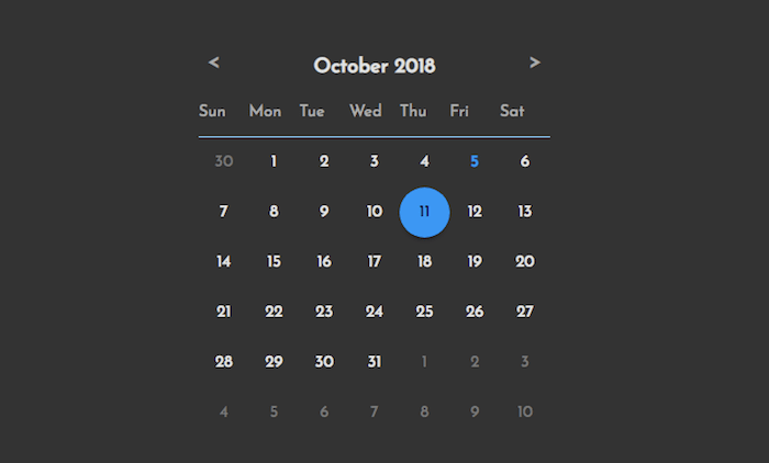 Dynamically generated calendar