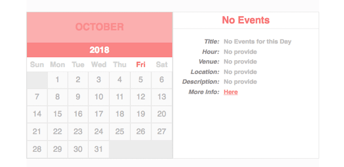 Simple Calendar with json events