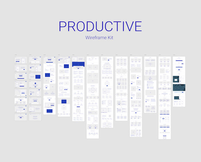 Full wireframe Kit for Adobe Xd - Productive Wireframe