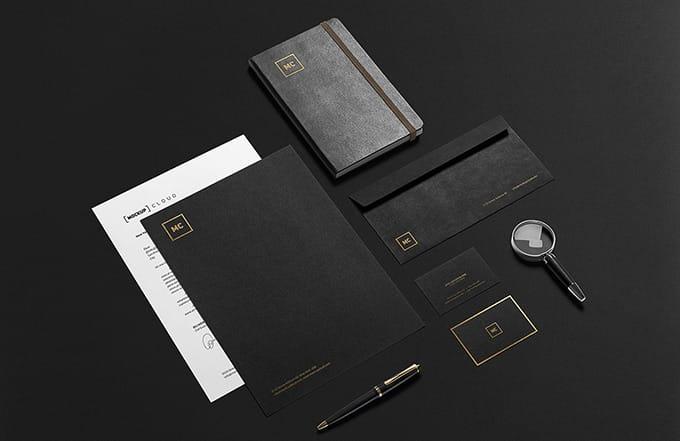 Black + Gold Stationery Mockup