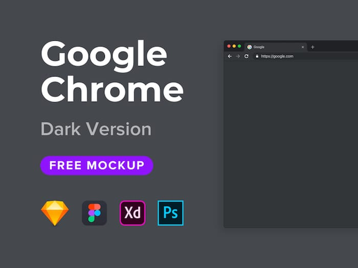 XD Google Chrome Mockup Freebie (Dark Version)