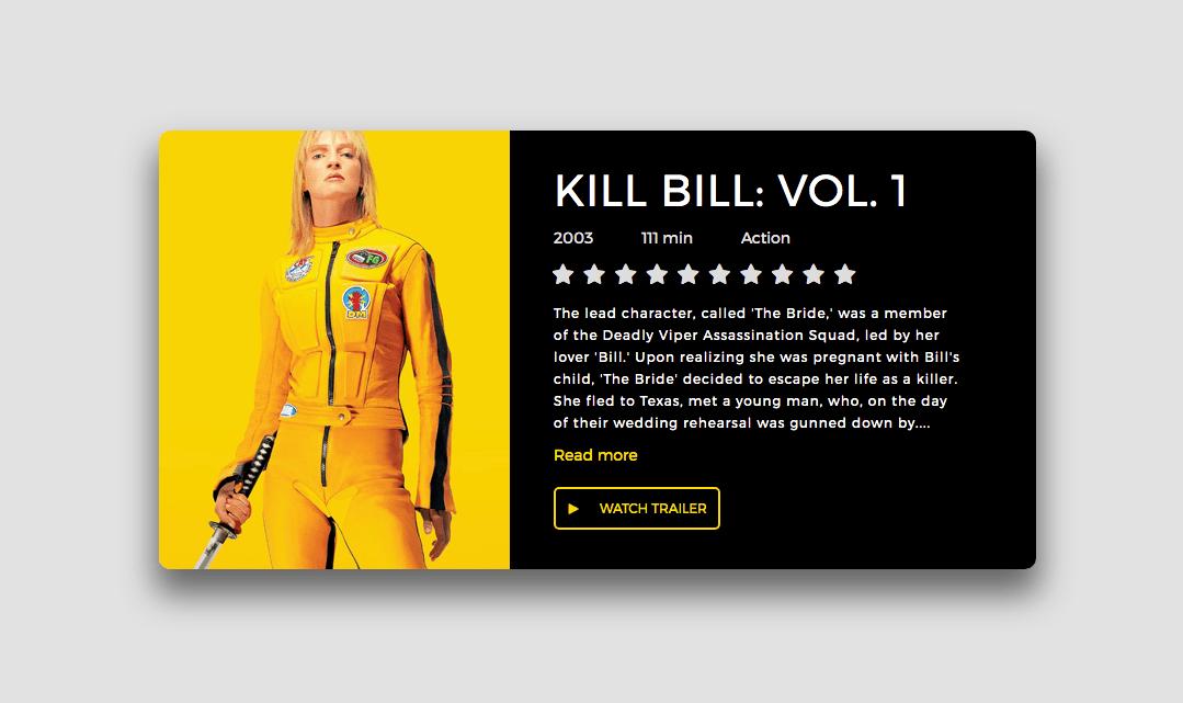 Interactive movie card